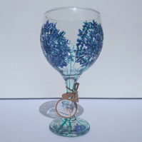 The Arty Agapanthus Blue, Hand Painted Gin Glass (can personalise)