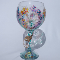 Alliums Ablaze, Hand Painted Gin Glass (can personalise)