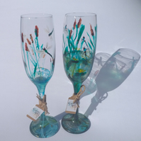 Dragonfly Pond, Pair of Hand Painted Flute Glasses