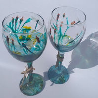Dragonfly Pond, Pair of Hand Painted Small Wine Glasses