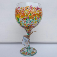 Oranges & Lemons, A Zingy Citrus Design Hand Painted Gin Glass (can personalise)