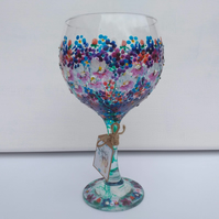 Merry Berry, Red  & Blue Berry Delight, Hand Painted Gin Glass, Can personalise