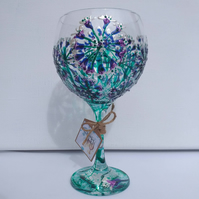 Exquisite Explosion Agapanthus Fireworks, Hand Painted Gin Glass Can personalise
