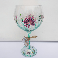 Mountain Dazzle, Hand Painted Gin Glass, Mountain Cornflower (Can personalise)