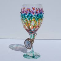 Rainbow Flowers, Wine Glass hand painted (can personalise)