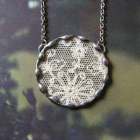Purity - Antique Lace, Vintage Glass, Hand Soldered Silver Tone Necklace