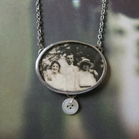 Summer Memories - Vintage Photograph, Vintage Glass, Hand Soldered Necklace