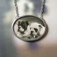 Bulldog Puppies - Vintage Photograph, Vintage Glass, Hand Soldered Necklace