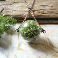 Forest Green Mossy Globe - Glass Bead, Real Reindeer Moss, Copper Necklace