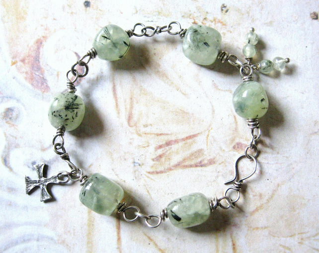Sterling Silver, Prehnite Gemstone Smooth Nuggets, Wire Wrapped Bracelet