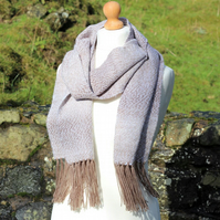 Brown and cream handwoven scarf