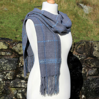 Grey and blue handwoven scarf