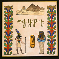 Egypt Pyramids Sphynx Mummy Anubis Blank Hand Crafted Greeting Card