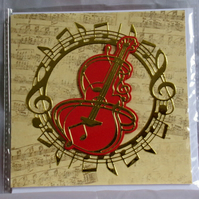 Golden Guitar Music Theme Handmade Blank Greeting Card