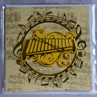 Xylophone or Glockenspiel Golden Music Theme Handmade Blank Greeting Card