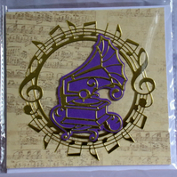 Gramophone or Phonograph Golden Music Themed Handmade Blank Greeting Card