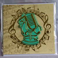 Vintage Microphone Golden Music Themed Handmade Blank Greeting Card