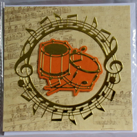 Drums Golden Music Themed Handmade Blank Greeting Card