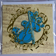 Violin or Viola Golden Music Themed Handmade Blank Greeting Card