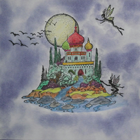 Fairies & Exotic Oriental Castle Handmade Blank Greeting Card