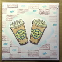 Coffee Cups Latte Americano Cappuccino Blank Hand Crafted Greeting Card