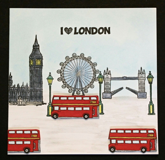 I Love London Big Ben Red Bus Tower Bridge Eye Blank Hand Crafted Greeting Card