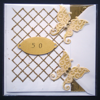 Golden Wedding 50th Anniversary Butterflies Love Handmade Blank Greeting Card