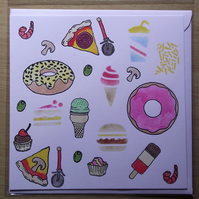 Fast Food Doughnuts Pizza Ice Cream Burgers Blank Hand Crafted Greeting Card