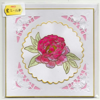 Rose or Peony Handmade Blank Greeting Card With Envelope Hand Painted