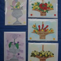 5 Floral Mini Handmade Blank Greeting Card Notelets  Hand Painted