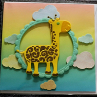 Cartoon Giraffe In The Clouds Birthday Baby Toddler Handmade Blank Greeting Card