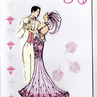 PEARL WEDDING 30th ANNIVERSARY COUPLE BLANK GREETING CARD ART DECO STYLE