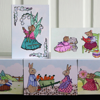 5 RABBIT & MICE FAMILIES MINI CARD NOTELETS HANDMADE BLANK GREETING HAND CRAFTED