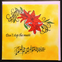 Don't Stop the Music Red Lilies Notes Blank Greeting card & Envelope