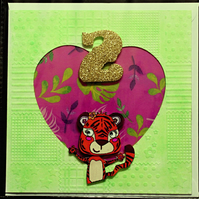 Cute Two Year Old Tiger Birthday Greeting Card Green Ground Golden Number