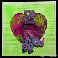 Cute Two Year Old Rhinoceros Rino Birthday Greeting Card Purple Number
