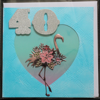 FORTY 40 YEAR OLD FLAMINGO BIRTHDAY BLANK HAND MADE CRAFTED GREETING CARD