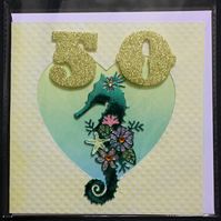 FIFTY 50 YEAR OLD SEAHORSE BIRTHDAY BLANK HAND MADE CRAFTED GREETING CARD