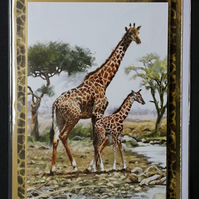 GIRAFFES SAFARI AFRICA BLANK HAND MADE CRAFTED GREETING CARD