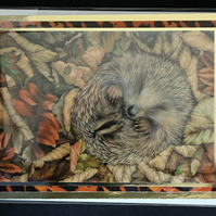 HEDGEHOG WOODLAND AUTUMN BLANK HAND MADE CRAFTED GREETING CARD