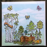 3D COUNTRYSIDE SCENE BUTTERFLIES FOX TREES BLANK HAND MADE CRAFTED GREETING CARD