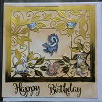 HAPPY BIRTHDAY CUTE ANIMALS RABBIT SQUIRREL FOX  BLANK GREETING CARD & ENVELOPE