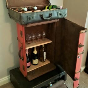 Vintage Suitcase Drinks Cabinet - Handmade furniture