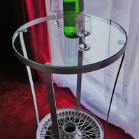 Jaguar Wire Wheel Drinks Table - Reclaimed car parts furniture