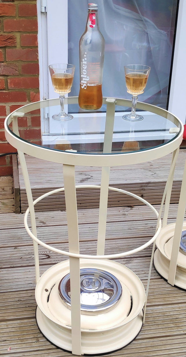 Morris Minor Wheel Drinks Table - Car parts furniture, side table