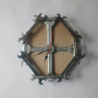 Industrial Spanner Wall Clock on wood backing - Industrial chic clocks
