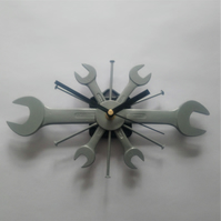 Spanner Wall Clock in Silver - Industrial chic clocks