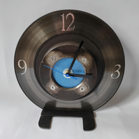Desktop Brake Disc Clock in Blue - Reclaimed car part furniture