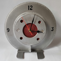 Desktop Brake Disc Clock in Red - Reclaimed car part furniture