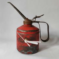 Freestanding Oil Can Clock in Red - Reclaimed Handmade Homeware